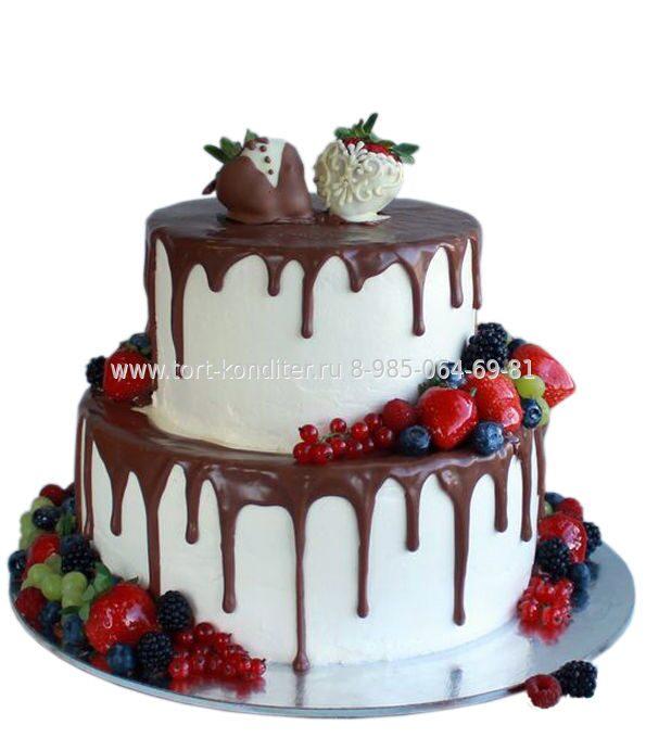 свадебный торт двухъярусный без мастики фото